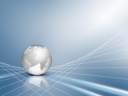 Business background - design with silver grey 3d globe, world map with blue shiny abstract network backdrop - technical communication and connection concept Stock Photo