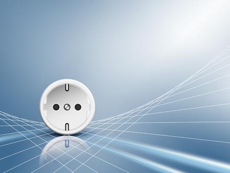 Elektrische energie - stopcontact, stopcontact met een witte abstracte stroomkabels tegen blauwe glanzende achtergrond - symbool van schone elektriciteit en voedingsleidingen