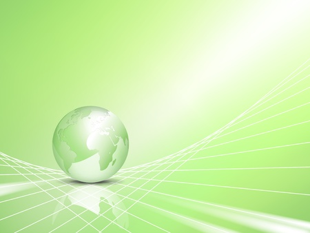 Light green eco business background with abstract 3d vector globe, world map - symbol of environmental protection - ecology and green energy concept Vector