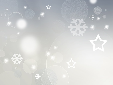 Light grey and white background with shiny stars, circles and snowflakes - abstract design for Christmas, New Year and winter themes Stock Photo - 10053758