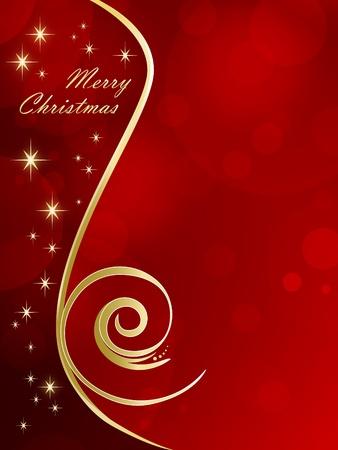 Fondo de Navidad roja con estrellas doradas - tarjeta de Navidad Foto de archivo - 10053657