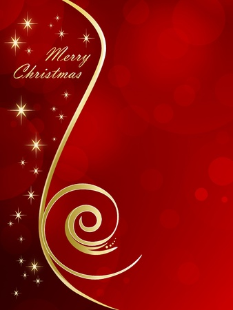 Red Christmas background with golden stars - Christmas card photo