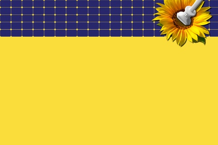 Blue solar panel with sunflower and plug against yellow background - eco design photo