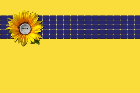 Solar panel with sunflower and socket against yellow background photo