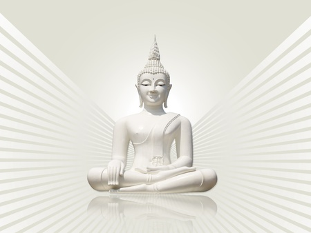 White buddha with rays  photo