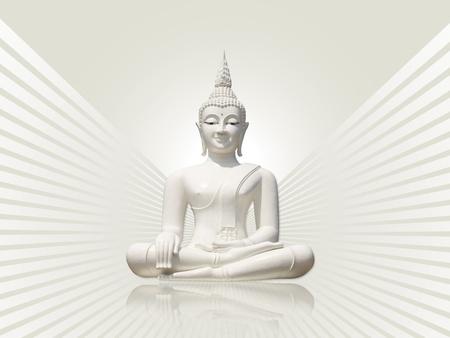 White buddha with rays
