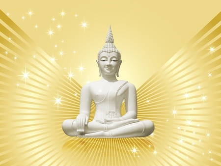 divinity: White buddha with golden rays and stars