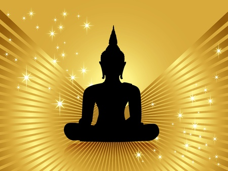 Black buddha silhouette with golden rays and shiny stars -