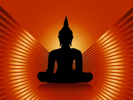 buddha tranquil: Black buddha silhouette with rays against orange red background Stock Photo