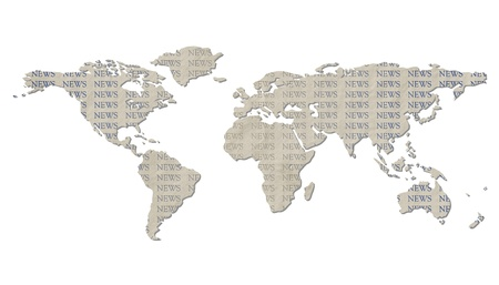 newest: Grunge light brown paper textured world map and blue NEWS text - isolated against white background, including clipping path