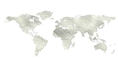 World map with light grey beige paper texture - isolated against white background