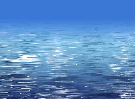 submerged: Abstract beach illustration - crystal clear water and blue sky