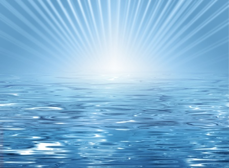 Abstract sunny beach background - blue water texture and horizon with sun and rays Stock Photo