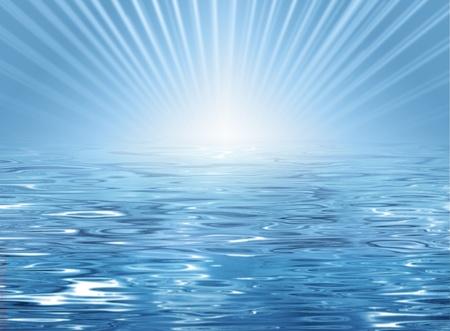 unterseeboot: Zusammenfassung sonnigen Strand Hintergrund - blaue Wasser Textur und Horizont mit Sonne und Strahlen Lizenzfreie Bilder