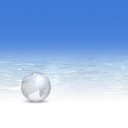 turismo ecologico: Globo con fondo de aguas cristalinas - industria de viajes, el turismo y el concepto de mundo limpio