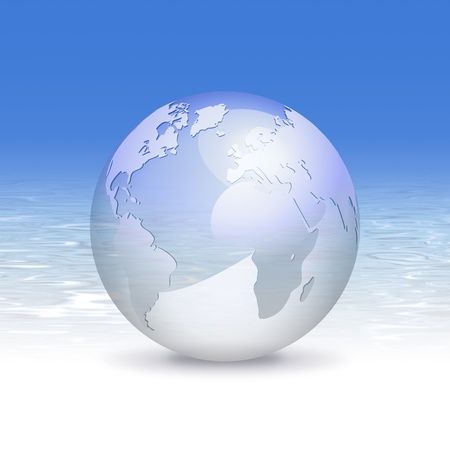 3d globe and fresh blue water background - eco business design, clean world and travel concept photo