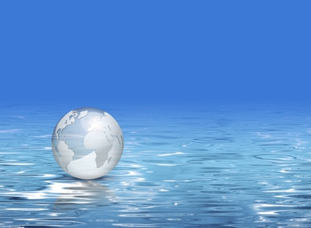 Water background - business eco design with shiny 3d globe - clean earth and tourism concept photo