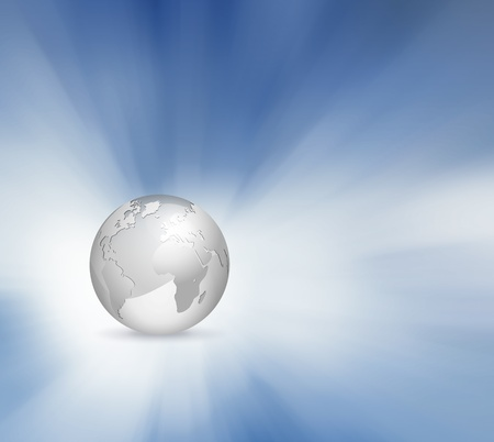Globe with abstract sky background - grey blue business world design photo