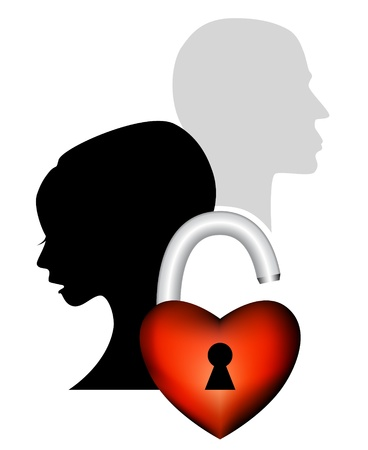 to depart: Sad couple having an argument - symbolic of farewell, divorce, domestic quarrel, problems and broken love - face silhouette of a man and woman with heart padlock Illustration