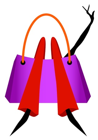 Fashion girl lying in a shopping bag with outstretched arm - shopaholic woman  Illustration