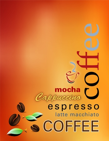 coffee beans: coffee background - modern coffee menu with coffee beans, leaves and words