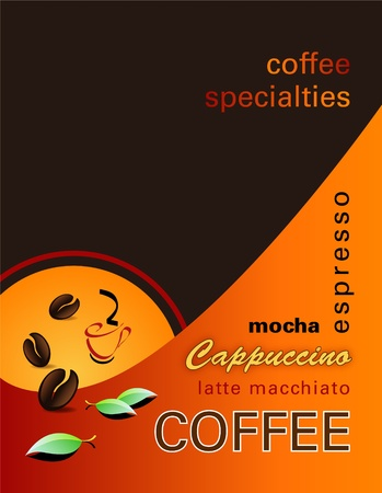 Coffee background - modern cover of a coffee shop menu with coffee beans, abstract sun, leaves and words  Vector