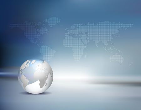 business background - light silver grey 3d globe and dotted world map with blue shiny backdrop