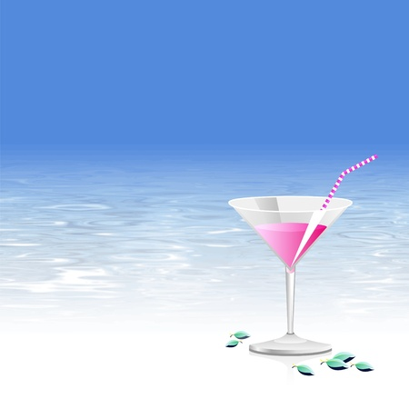 Summer cocktail - beach party background with water texture and blue sky