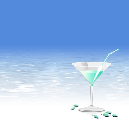 Beach party background with summer cocktail glass, blue sky and water texture  Vector