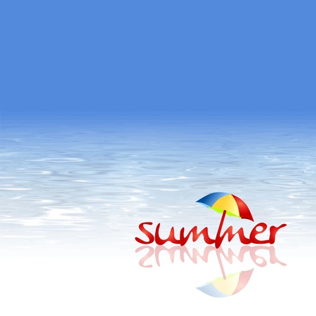 summer background: Beach background - summer design with abstract water texture and umbrella Illustration