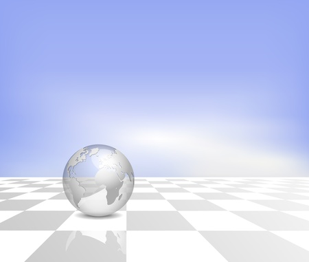 Business background - silver 3d globe on white grey checked floor with blue sky