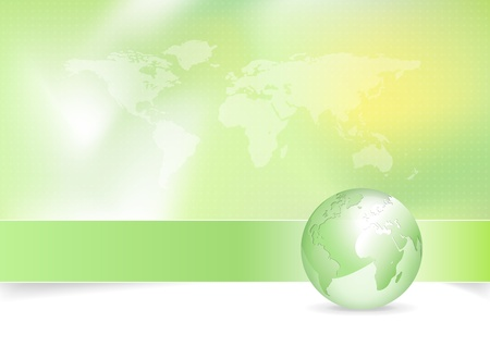 environmental friendly: Eco background - green earth design with globe and world map  Illustration