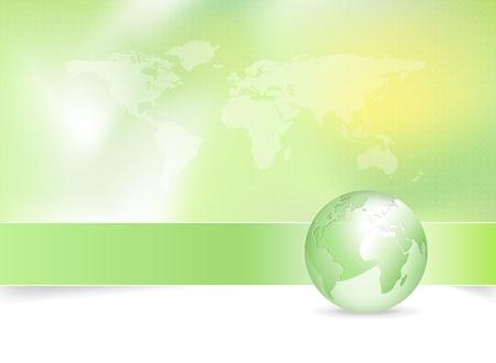 Eco background - green earth design with globe and world map  Illusztráció
