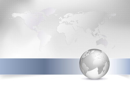 corporate world: Business map - world map, globe - abstract grey background design with blue banner