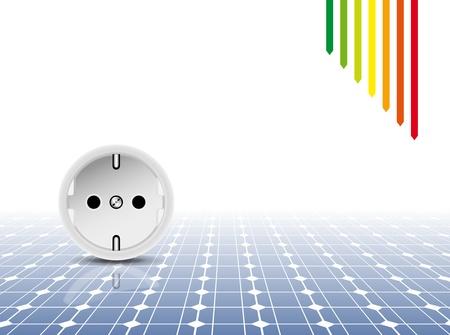 enchufe de luz: Panel solar con zócalo, salida - tecnología fotovoltaica - resumen antecedentes de electricidad