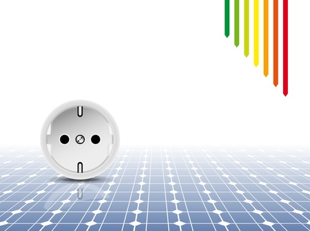 electric socket: Solar panel with socket, outlet - photovoltaic technology - abstract electricity background