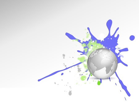 splats: Funky business design - silver grey 3d globe with blue and green splash