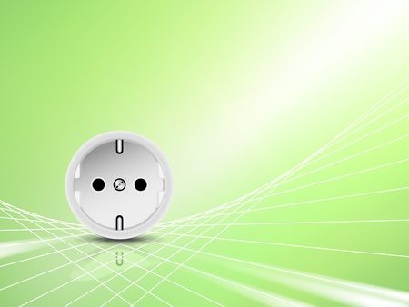 electrical outlet: Green energy concept, eco design - white socket, outlet against abstract green shiny background
