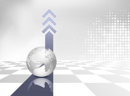 Business hintergrund mit globus, blaue pfeile und grau weiß ...