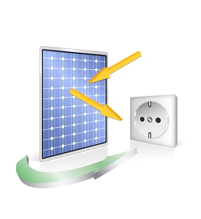 photovoltaic panel: Solar panel with socket - photovoltaic technology - green power and energy concept - vector eco design