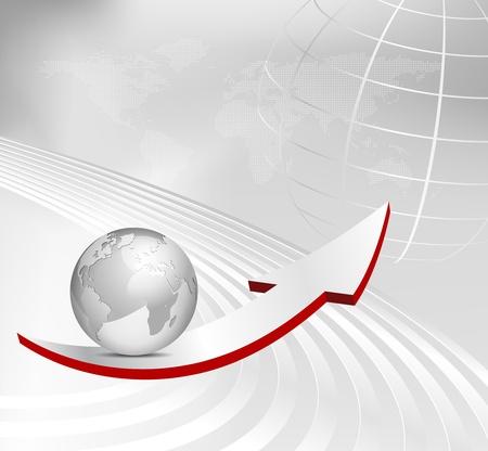 krökt: Business bakgrund med pil, 3D-klot och prickade världskartan - abstrakt grå vektor mall