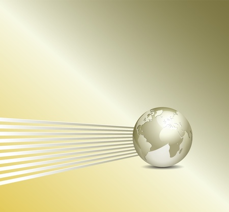golden globe: Glossy 3d globe and lines - elegant vector business background with copy space - abstract corporate concept