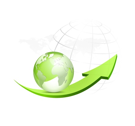 move forward: Green globe with arrow and dotted world map in the background - glossy eco symbol - vector illustration