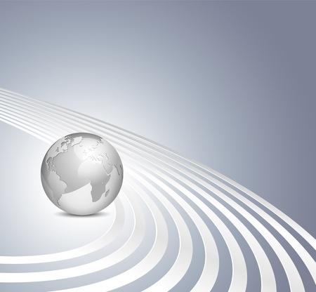 earth moving: Vector 3d mundo sobre fondo azul gris con l�neas plata - plantilla de negocio abstracto Vectores