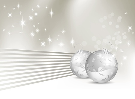 Christmas background - abstract silver gray and white winter design with baubles and shiny lines Vector