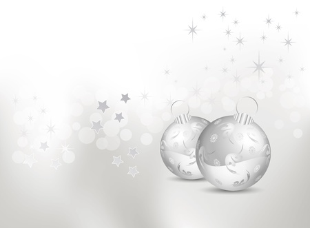 Abstract white and silver gray Christmas background with shiny baubles and stars  Vector