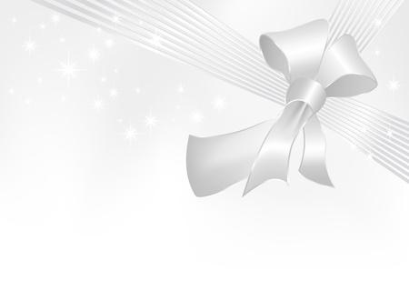 bodas de plata: Cinta de plata con arco sobre fondo blanco con degradado a gris - adecuado para el presente, cumpleaños, tarjeta, bodas, saludo y diseños de Navidad
