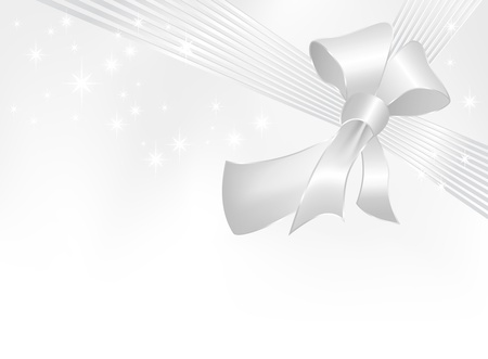 Silver ribbon with bow on white background with gradient to gray - suitable for present, birthday, card, wedding, greeting and Christmas designs