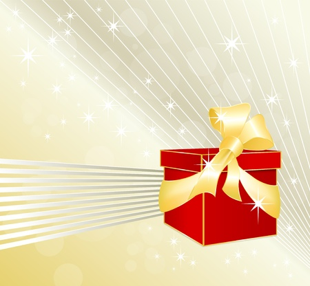 wrap wrapped: Red gift box with golden ribbon and bow against festive abstract background with stars and white and silver grey shimmering lines - birthday and Christmas design