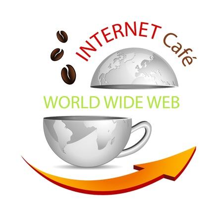 chicchi di caff�: Segno di Internet cafe icona - globo astratto business in forma di una tazza di caff� con freccia e chicchi di caff� - simbolico cybercafe  Vettoriali